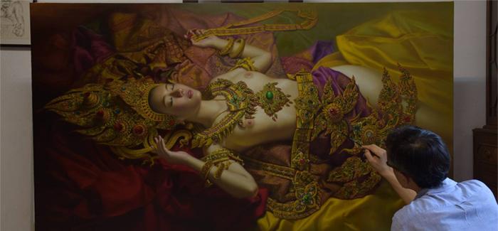 Watchara Klakhakhai_Apsara_erotic painting_erotic religious art_