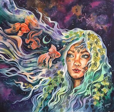 Kat Fedora painting